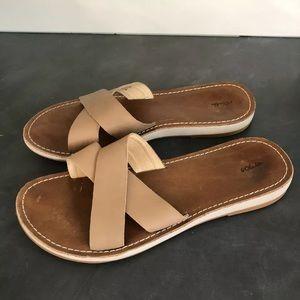 OLUKAI KE'A Sting Tan Leather Sandals Slides
